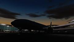 [P3D v4.5]ready for taxi! (danielrds) Tags: p3d prepar3d b777 b77w ua837 ual837 n2333u united sfo ksfo nrt rjaa usa japan sky sunrise