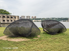 Moiré 3 Sculpture (2018-2019) by Frank Michielli, Riverside Park, Hamilton Heigths, New York City (jag9889) Tags: 2019 20190607 art artwork artist hamiltonheights harlem hudsonriver kunst manhattan modeltomonument ny nyc nycparks newyork newyorkcity newyorkcitydepartmentofparksrecreation northriverwastewatertreatmentplant outdoor park plastik publicart publicpark river riversidepark sculpture skulptur steel streetart usa unitedstates unitedstatesofamerica water waterway jag9889