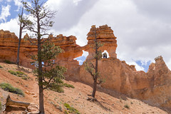 Tourists in an Arch at Bryce Canyon National Park (aaronrhawkins) Tags: brycecanyon national park arch rock formation limestone sandstone hoodoo scenic nature tourist tourism danger window southwest utah wilderness aaronhawkins