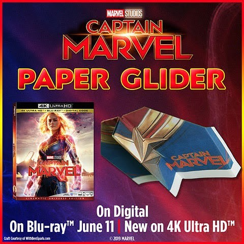 Guess who came up with this #HigherFurtherFaster DIY #CaptainMarvel paper glider! Me! Let's get excited for tomorrow's Blu-ray™ June 11 | New on 4K Ultra HD™ release of @CaptainMarvel! Download the instructions & template now at http://bit.ly/Captai