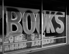 Books, Beaverton, Oregon (austin granger) Tags: books beaverton oregon comics boxes comicbooks window storefront font sign film largeformat chamonix