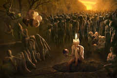 Happy Birthday (Christophe Kiciak) Tags: balloons beksinski birthday cake candle cork cupcake head monsters nightmare party philosophical sad sadness skinny sunset surreal time weird