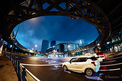 Urban City Night #2 (aotaro) Tags: nightview minatomirai worldporters kanagawa sony circlefoorbridge landmarktower yokohama night samyang12mmfisheye ilce7m3 rainy circlewalk nightphotography a7iii japan redcar