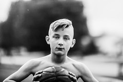 (Rebecca812) Tags: portrait boy basketball athlete strong strength determination people canon blackandwhite grain outdoors summer play