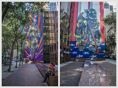 NYC Day One (Paul B0udreau) Tags: diptych newyorkcity nyc usa nikkor1855mm photoshop canada ontario paulboudreauphotography niagara d5100 nikon nikond5100 raw layer mural street person reflections einstein bicycle firefighter 911 city art thebravesof911 kobra midtownmanhattan