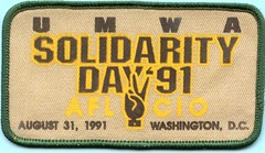 UMWA Solidarity Day Patch (Coalminer5) Tags: coalmining coalminer coalmemorabilia coalcollectibles mining miningmemorabilia miningcollectible miningartifacts miner umwa unitedmineworkersofamerica union washingtondc solidarity aflcio sewonpatch patch