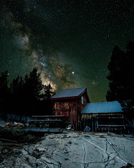 abandoned cabin (Aaron_Smith_Wolfe_Photography) Tags: milkyway ebbettspass sierranevada stars abandoned cabin milky way galaxy composite