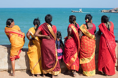 Colourful Ladies, Down by the Sea, Kanyakumari (Geraint Rowland Photography) Tags: ocean water endoftheworld indianocean women woman colour colours tamilnadu wwwgeraintrowlandcouk family lineofwomen sea bluesea kanyakumari bottomofindia travelindia indianculture indianfashion indianethnicity traveller travelportraits candid