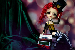 From Dawn till Dusk (The Migratory Dreamery) Tags: pullip custompullip ooakdoll ooakpullip ödolls circusgirl circus cabaret vintage character sad dualpersonalities dusk dawn stage curtain show performance accordion accordionist hat shadow redhair costume stripes velvet bokeh stagelights junplanning groove rewigged rechipped kikichrysanthemum trisquette red obitsu toy doll toyphotography dollphotography dollartistry handmadedollclothes handmadewig handmadeeyechips