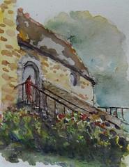Manoir de Kernault (christian angué) Tags: escalier manoir croquis finistere bretagne architecture aquarelle