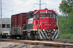 After passing through the yard and depot, the sprayer works its way out the east end of Portage (AndyWS formerly_WisconsinSkies) Tags: train railroad railway railfan canadianpacificrailway canadianpacific cprail cp ferromex emd gp382 locomotive