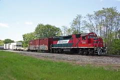 Wide angle of the spray train approaching Boeck Road (AndyWS formerly_WisconsinSkies) Tags: train railroad railway railfan canadianpacificrailway canadianpacific cprail cp ferromex emd gp382 locomotive