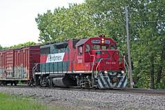 Cloud-boinked closeup of FXE 2046 hauling the weed sprayer (AndyWS formerly_WisconsinSkies) Tags: train railroad railway railfan canadianpacificrailway canadianpacific cprail cp ferromex emd gp382 locomotive