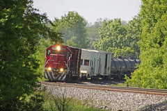 FXE 2046 rumbles around the Salisbury Road curve with the EB weed sprayer (AndyWS formerly_WisconsinSkies) Tags: train railroad railway railfan canadianpacificrailway canadianpacific cprail cp ferromex emd gp382 locomotive