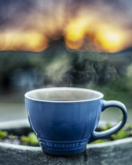 A Cup full of Winter. (Arranion) Tags: rooibos tea winter seasons seasonschange change cold colder cup steam canon 5d 50mm blue tonese tones sunset