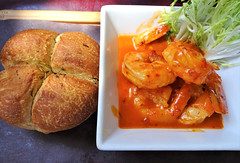 Sambal Prawns (knightbefore_99) Tags: sambal prawns biercraft vancouver food seafood hot spicy red rouge white wine focaccia butter oceanwise tasty delicious thedrive best awesome