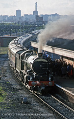 GWR King No 6024 'King Edward I' awaits departure at Tyseley Station with the 1859 to Stratford (Shakespeare Express) on 15th April 1990 (robinstewart.smith) Tags: gwr king tyseley station shakespeare express 1990