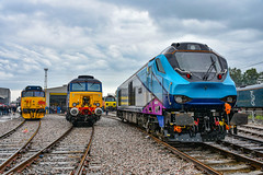68027 + 70808 + 57307 + 50049 - Crewe Diesel Depot Open Day - 08/06/19. (TRphotography04) Tags: transpennine express tpe 68027 colas rail freight 70808 drs 57307 lady penelope gbrf 50049 defiance seen lined up crewe diesel depot 2019 charity open day