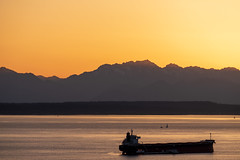 Sunset And Ship (sbisson) Tags: sunset seattle elliottbay olympics pugetsound ship bay washington evening sun sky orange purple
