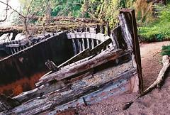 Nowhere Fast (Mano Green) Tags: boat broken derelict decay hull shore loch lochy great glen way scotland uk june summer 2016 walk hike water lake canon eos 300 40mm lens kodak gold 200 35mm film colour landscape old sad vessel