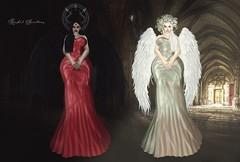 TWO FACES OF RACHEL (Rachel Swallows Inworld Elenamicheals Core) Tags: angel angelic demon demoness fashion flourishevent gown secondlife stargazercreations vampire vampyre