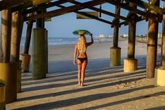 Longboard Girl - Cocoa Beach, FL (ChuckPalmer {cepalm}) Tags: cocoabeach sunrise beach blond florida longboard pier surfboard surfergirl chuckpalmer water sky outside