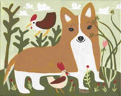 corgi with chickens (sarapulver) Tags: corgi folk art outsider sara pulver etsy 3crows chickens roosters cute whimsical funny