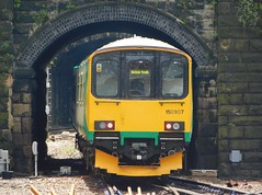 Framed by the arch (The Walsall Spotter) Tags: sheffield railway station northernrail class150 dmu sprinter 150107 uk multiple unit westmidlandsrailway train networkrail british railways