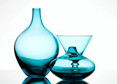 Shapes of Blue (Karen_Chappell) Tags: blue glass white three vase bottle stilllife shapes abstract product refraction curves curve