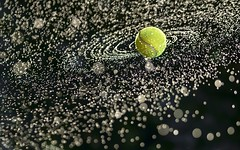 Tennis Ball Galaxy (Mark Chandler Photography) Tags: color colour water backlight canon ball outdoors photography photo droplets bokeh stock spray tennis galaxy spinning markchandler 7dmarkii spiral tennisball