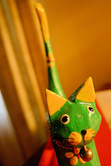green wooden cat... (Valerie Peters) Tags: macromondays childhoodtoys e