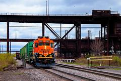 The Great Northern Trendkill (BravoDelta1999) Tags: burlingtonnorthernsantafe bnsf railway canadiannational cn duluthmissabeandironrange dmir railroad missabesubdivision missabe junction duluth minnesota ore dock5 dock6 emd gp39m gp30 2821 manifest train