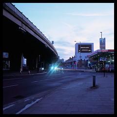 Brentford Evening (Jamie Langford) Tags: rolleiflex velvia50 120film london brentford thames motorway boats