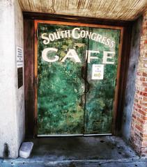 South Congress Cafe (Rob Shenk) Tags: austin texas unitedstatesofamerica atx city cityscape door green southcongress cafe urban crusty