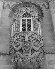 detail from the Pena Palace, Portugal (stevebanfield) Tags: nikonfm2 nikon monochrome sintra scan shotonfilmstore bw ilfordphoto ilford blackandwhite film portugal