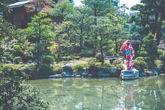 Goshō-u, Shosei-en Garden - Kyoto, Japan (nivagyag73) Tags: 2019 canon ef2470f28lusm eos5dmarkiii garden honshu japan japaneseblackpine kansairegion kyoto kyōtoprefecture leaves people pine pond shimogyōku shoseiengarden tree water