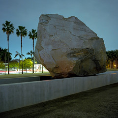Levitated Mass, night (ADMurr) Tags: la lacma night levitated mass rock palms hasselblad 500cm kodak ektar 50mm distagon zeiss dba445