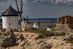 The Mills of Consuegra ......, Los Molinos de Consuegra....... (Joerg Kaftan) Tags: landscape paisajes molinosdeviento windmill castillalamancha toledo sol sun nubes cielo sky clouds castillo castle