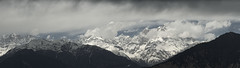 Storm brewing panorama (Moving Iris) Tags: himalayas himalay hills mountain snow snowcappedpeaks landscape mountainscape clouds cloudsstormssunsetssunrises cloudscape nikon nikond5100 nikonindia
