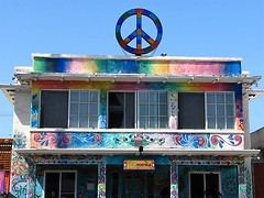 OB Peace Hostel (Rand Luv'n Life) Tags: odc our daily challenge peace sign symbol ocean beach hostel ob newport ave san diego california multicolor building blue sky outdoors counter culture hippie