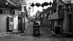 No signal (Go-tea 郭天) Tags: pékin républiquepopulairedechine beijing hutong old ancient history historical historic alley narrow building traditional tradition winter cold empty quiet alone lonely stop stoped motorbike motorcycle ride riding rider crossroads woman lady decoration cny celebration street urban city outside outdoor people candid bw bnw black white blackwhite blackandwhite monochrome naturallight natural light asia asian china chinese canon eos 100d 24mm prime bricks lines electric electricity
