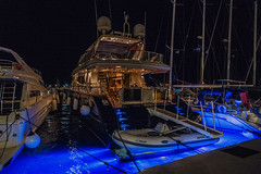 When the world is not enough.... (Dafydd Penguin) Tags: yacht superyacht led blue lights powerboat power boat sunseeker town quay quayside waterside water sea harbour harbor port dock harbourside island greece aegina saronic gulf night shot high iso after dark handheld leica m10 21mm super elmar f34 asph