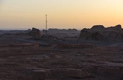 Waiting for the Sunrise (Ash and Debris) Tags: view rock nature landscape iran surnise silhouette tower people kaloutsdesert sky desert construction morning kalouts rocks