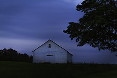 The Barn at Dusk (jessicalowell20) Tags: barn black blue clapboard clouds country countryside dusk evening fadinglight farm fieldsky green landscape maine newengland northamerica pittston rural spring treeshorizon