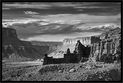 The Stagecoach was Late Today (jk walser) Tags: bw blackwhite desert fishertowers fujixt2 jkwalser moab utah canyons greyscale