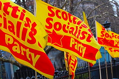 Flags (infocusphotouk) Tags: flags red yellow socialist banner politics