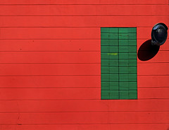 urban landscape - 50 (Rino Alessandrini) Tags: abstract minimalist dwelling facade contrast colors wood geometry shapes minimal closed green red square rectangles repetition mirror