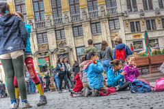 a girls day out (stevefge (away)) Tags: belgium brussel brussels bruxelles grandplace street people candid girls friends unsuspectingprotagonists unsuspecting reflectyourworld nikon europe sitting standing heart