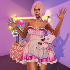 Cotton Candy (Irene_105) Tags: women clothes skin outfit costume roleplay rp irrisistible appliers jewel necklace hud hairs maitreya belleza slink hourglass event swank cotton candy sweet lollipop fair sl secondlife second life