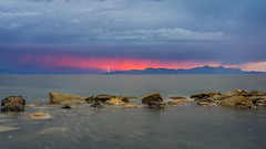 Lightning Sunset (Star Wizard) Tags: magna utah unitedstatesofamerica outside sunset beach water sky light clouds landscape